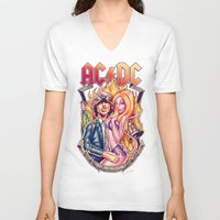 acdc V-neck T-shirts featuring Highway to ACDC by Renato Cunha