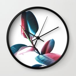 Colourful Rubber Leaves Wall Clock