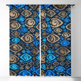 Greek Evil Eye pattern Blues and Gold #1 Blackout Curtain