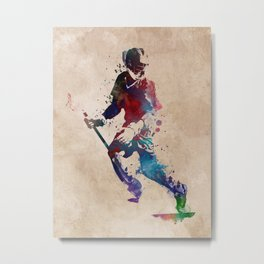 Lacrosse player art 3 Metal Print
