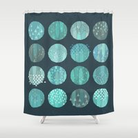celestial Shower Curtains featuring CELESTIAL BODIES - MIDNIGHT by Daisy Beatrice