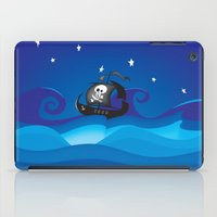 pirate ship iPad Cases featuring pirate ship at the sea by mangulica