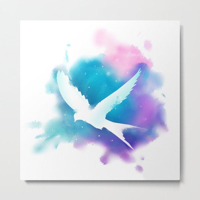 Bird Galaxy Watercolor Metal Print