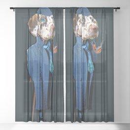 Dog Sherlock Holmes Sheer Curtain