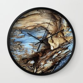 Blue and Gold Natural Pattern Wall Clock