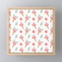 Floral Cones Pattern Framed Mini Art Print