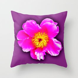 Pink flower on a wintry background Throw Pillow