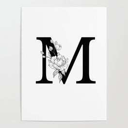 M botanical monogram. Letter initial with peonies Poster