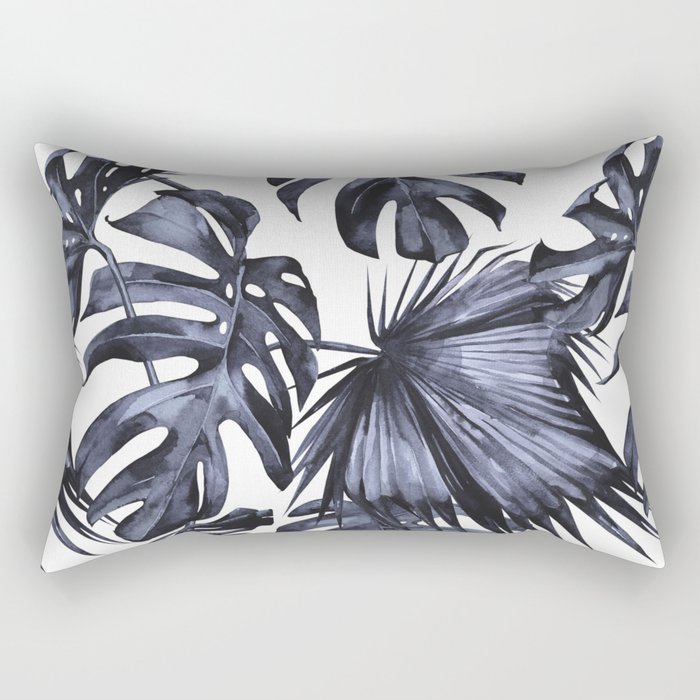 Classic Palm Leaves Navy Blue Rectangular Pillow