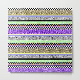 Leopard Zebra Check Stripe Mixed Pattern - Horizontal I Metal Print