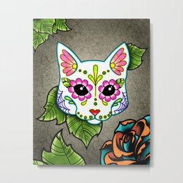 White Cat - Day of the Dead Sugar Skull Kitty Metal Print