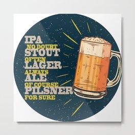 Beer always, vintage poster, circle, blue Metal Print
