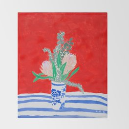 Protea Still Life in Red and Delft Blue Throw Blanket