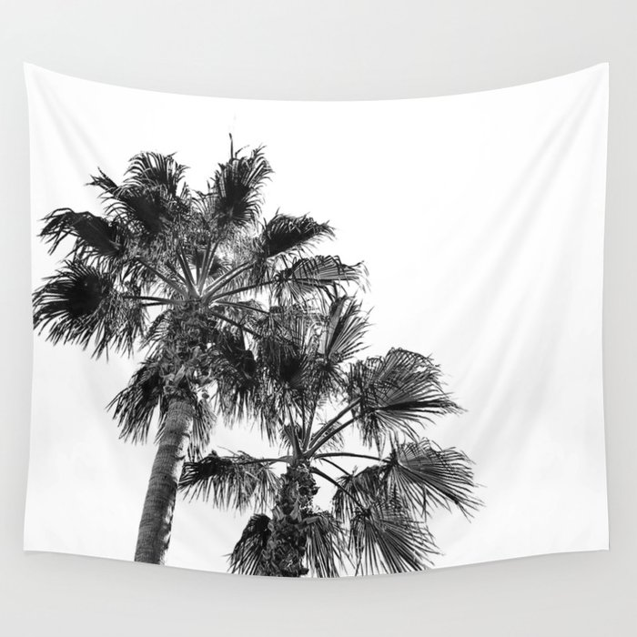 B&W Palm Tree Print   Black and White Summer Sky Beach Surfing Photography Art Wall Tapestry