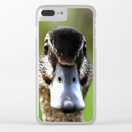 Hello Ducky Quirky Duck Portrait Clear iPhone Case