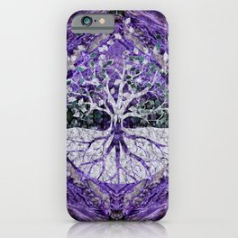 Silver Tree of Life Yggdrasil on Amethyst Geode iPhone Case
