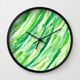 Spring Grass - Abstract Green Stripes Wall Clock