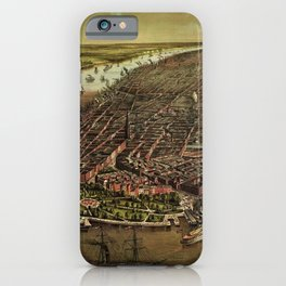 1873 NYC Ferd. Mayer & Sons, Lithograph of NYC - Manhattan in color iPhone Case