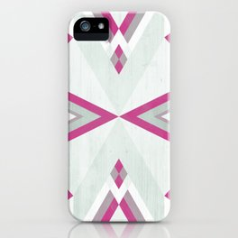 >> Pink and Gray Tribal on Wood >> iPhone Case