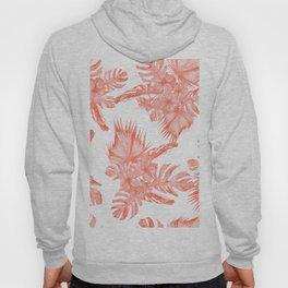 Tropical Palm Leaves Hibiscus Flowers Deep Coral Hoody