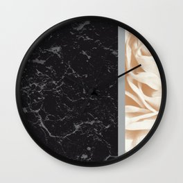 Cafe Au Lait Flower Meets Gray Black Marble #5 #decor #art #society6 Wall Clock