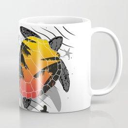 Red sun floating turtle Coffee Mug