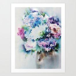 Still Life Rose Bouquet Watercolour Art Print