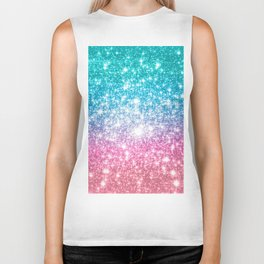 Mermaid Galaxy Sparkle Stars Biker Tank