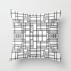 Map Outline Black on White Throw Pillow