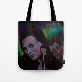 The violinist of the Northern Lights Tote Bag