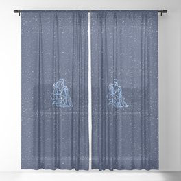 Aquarius Constellation and Zodiac Sign with Stars Sheer Curtain