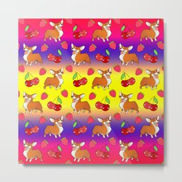 Cute happy playful funny puppy corgi dogs, red sweet summer strawberries and cherries colorful yellow purple red fruity pattern design. Metal Print