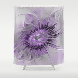 Lilac Fantasy Flower, Fractal Art Shower Curtain