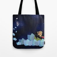 swimming Tote Bags featuring swimming by HanadaCreations