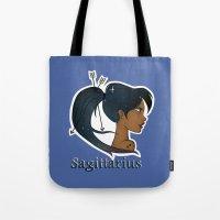 sagittarius Tote Bags featuring Sagittarius  by Jo Sharp