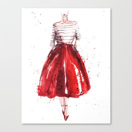 Red skirt / red lips Canvas Print