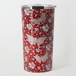 silver, red,flowers, stars, butterfly, pattern, bright, shiny, elegant, color Travel Mug
