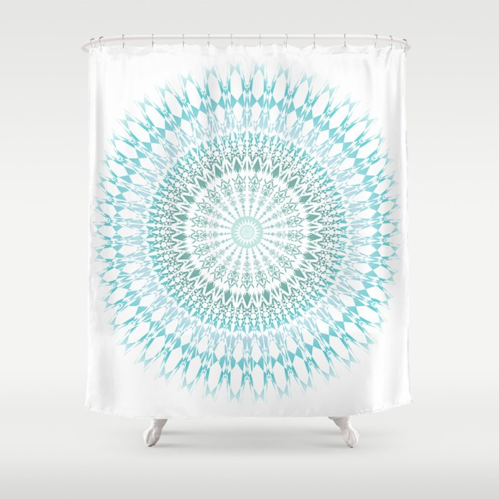 Turquoise White Mandala Shower Curtain