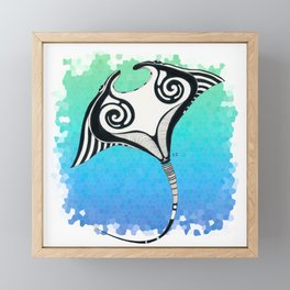 Manta Ray Tribal Tattoo Ink Teal Blue Framed Mini Art Print