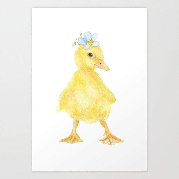 Yellow Duckling Flower Watercolor Kunstdrucke
