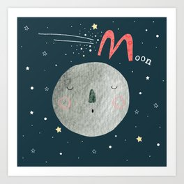 M is for Moon Art Print