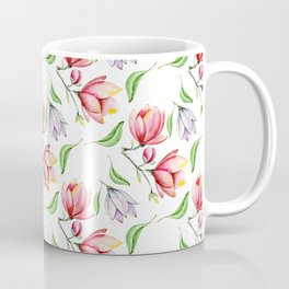 Elegant modern hand painted pink lilac watercolor magnolia floral Coffee Mug
