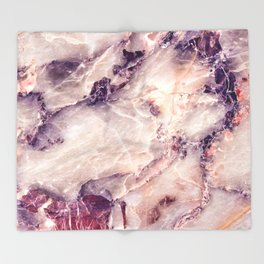 Pink marble texture effect Throw Blanket