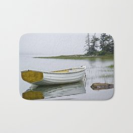 White Maine Boat on a Foggy Morning Bath Mat