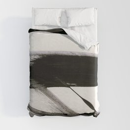 Brushstroke 9: a bold, minimal, black and white abstract piece Duvet Cover