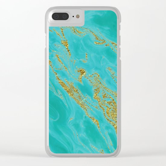 Luxury and glamorous gold glitter on aqua Sea marble on #Society6 Clear iPhone Case