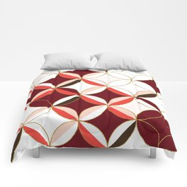Floral Circle Pattern Inspired by Mid Century Modern Design: Red Pink and Gold Foil Comforters
