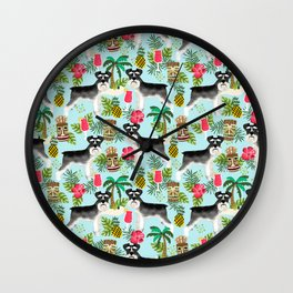Schnauzer tiki pattern floral hibiscus floral flower pattern palm leaves Wall Clock