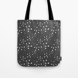 Baby's Breath Flower Pattern - Black Tote Bag