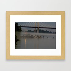 The fishing Dock on a misty evening Framed Art Print
